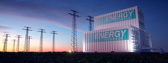 Obraz Electrical supply from containers with stored energy.  - fototapety do salonu