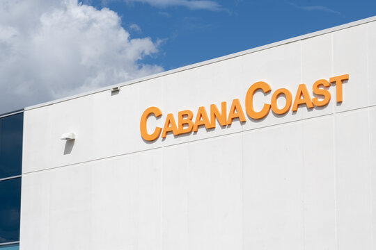 Mississauga, ON, Canada - September 26, 2021: Close up of CabanaCoast sign at their headquarters in Mississauga, ON, Canada. CabanaCoast  is a line of modern and fashion-forward outdoor furniture.