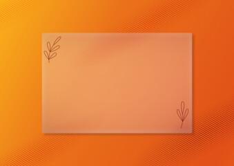 Obraz Gradientowe pomarańczowe tło w jesiennym klimacie. Soczyste, dodające energi kolory. Tło do prezentacji. Półprzezroczysta szklana płaszczyzna, miejsce na tekst lub produkt. - fototapety do salonu