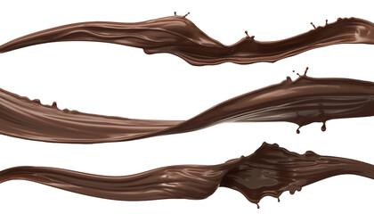 Fototapeta splash of chocolate set, with clipping path obraz