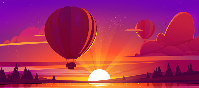 Sunset landscape with flying hot air balloons, lake and sun on horizon. Vector cartoon illustration of airships with baskets fly over river and coniferous forest on coast at evening