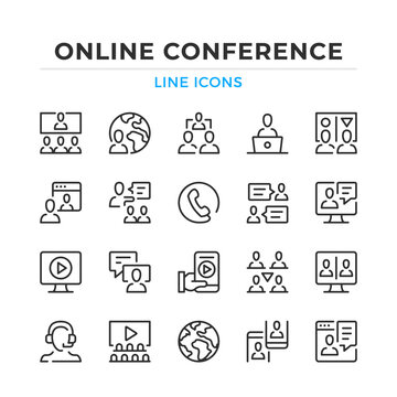 Online conference line icons set. Modern outline elements, graphic design concepts, simple symbols collection. Vector line icons