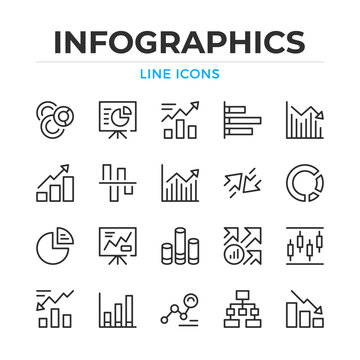 Infographics line icons set. Modern outline elements, graphic design concepts, simple symbols collection. Vector line icons