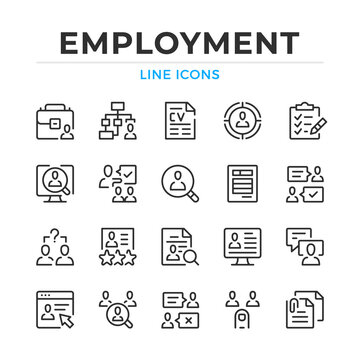 Employment line icons set. Modern outline elements, graphic design concepts, simple symbols collection. Vector line icons