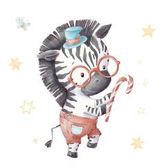 Fototapeta premium Set of cute cartoon zebra in hat and glasses. Watercolor illustration