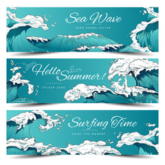 Fototapeta Set of marine nautical banners or flyers with large waves, vector illustration. obraz