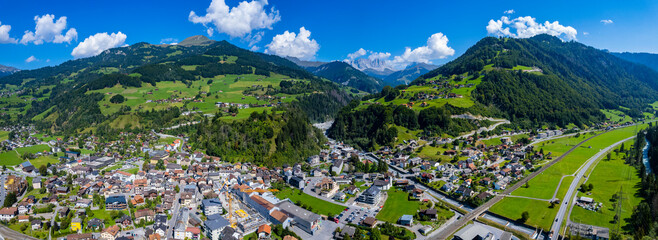 Aerial view around the city Schiers in Switzerland on a sunny morning day in summer.