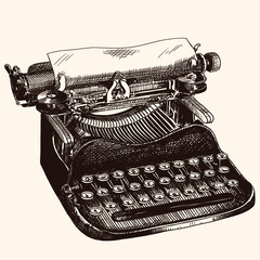 Obraz Vintage typewriter for typing with paper isolated on beige background. Quick hand sketch. - fototapety do salonu