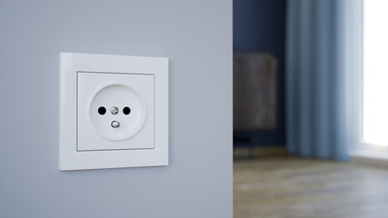 Electrical outlet on the wall, 3d illustration