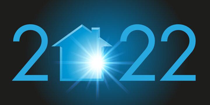 Carte de voeux montrant la silhouette d'une maison pour symboliser un projet de programme immobilier et l'acquisition d'un logement pour l'année 2022.