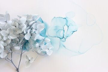 Obraz Creative image of pastel blue Hydrangea flowers on artistic ink background. Top view with copy space - fototapety do salonu