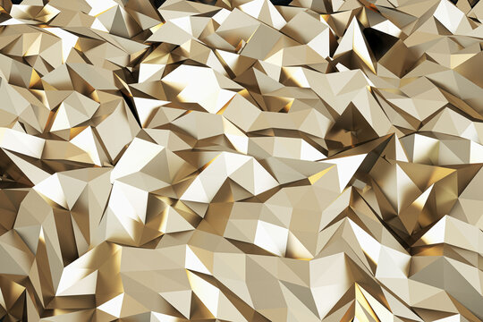 Abstract golden geometric crystal wallpaper. Landing page and design concept. 3D Rendering.