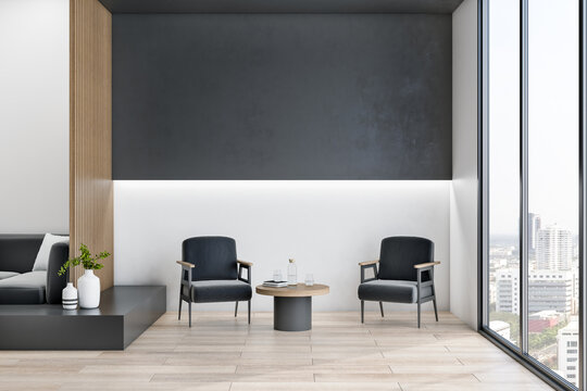 Modern wooden and concrete office interior lobby with cozy seats, empty dark mock up place and city view. Workplace design concept. 3D Rendering.