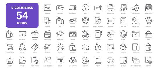 Obraz E-Commerce Line Icons. Editable Stroke. Pixel Perfect. - fototapety do salonu