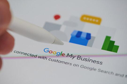 Check google my business on ipad panel