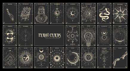 Fototapeta Vector illustration set of moon phases. Different stages of moonlight activity in vintage engraving style. Zodiac Signs, tarot cards obraz