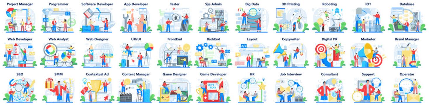 Modern IT or media profession set. Programmer write software