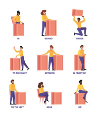 Place prepositions. Learning language rules words articles and prepositions above under behind near garish vector flat illustrations