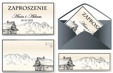 Obraz Zaproszenie góralskie, Zakopane, Giewont, góry , tatry,  - fototapety do salonu
