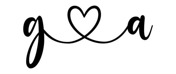 Fototapeta ga, ag, letters with heart Monogram, monogram wedding logo. Love icon, couples Initials, lower case, connecting HEART, home decor, obraz