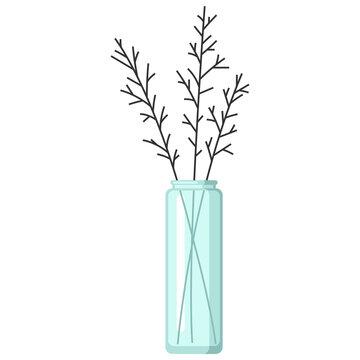 Stylized illustration of vase with flowers. Image for design or decoration.