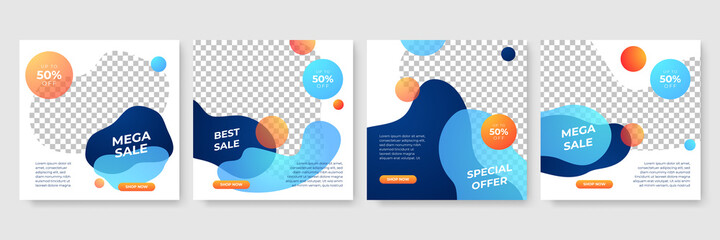 Obraz Set of Editable minimal square banner template. Blue and yellow background color with stripe line shape. Suitable for social media post and web internet ads. Vector illustration with photo college - fototapety do salonu