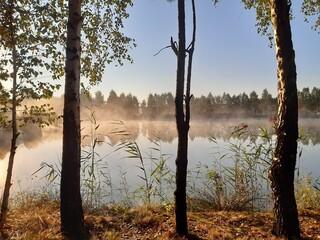 Obraz Świt nad jeziorem  - fototapety do salonu