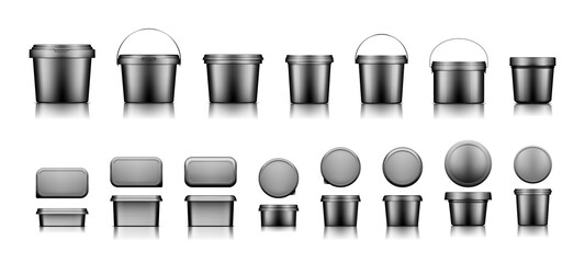 Obraz Black bucket mockups for ice cream, yogurt, cheese, mayonnaise, butter or paint - fototapety do salonu