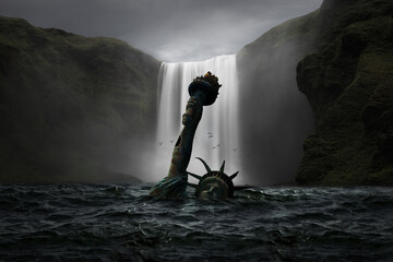 Obraz Statue of Liberty submerged in the sea with a waterfall in the background - fototapety do salonu