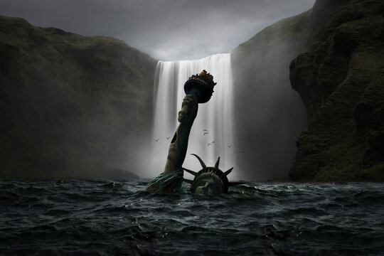 Statue of Liberty submerged in the sea with a waterfall in the background