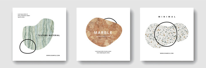Fototapeta Minimal artist banners with textured uneven shapes, clean and editable social media for instagram and facebook posts, marble design, clean business templates obraz