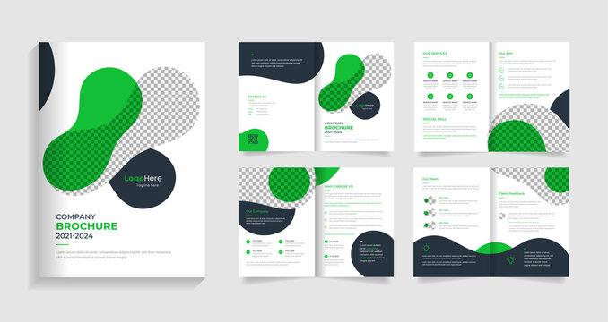Corporate creative brochure template design, creative shapes premium vector