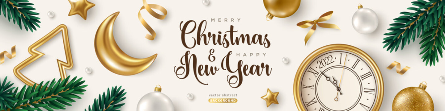 Merry Christmas and Happy New Year 2022 Banner with Xmas Tree Branches, Golden Baubles, Moon and Clock Bright Background. Vector illustration. Winter holiday template design, poster, flyer, voucher