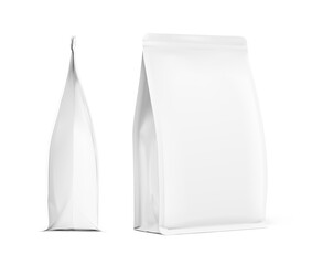 Fototapeta Realistic food bag set isolated on white background. Front and side views. Vector illustration. Can be use for template your design, presentation, promo, ad. EPS 10. obraz