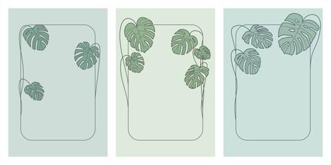 Obraz Ramki z zielonymi liśćmi monstery. Uniwersalny szablon z miejscem na tekst na pocztówki, zaproszenia ślubne, karty, vouchery, menu, ulotki, tło dla social media. Ilustracja wektorowa - fototapety do salonu