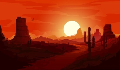 Fototapeta American desert landscape. Texas western mountains and cactuses, condor eagles and sunset background. Vector Wild West dry desert landscape with path go through rocks under red sky at dusk obraz