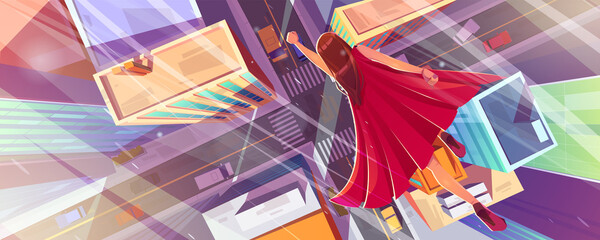 Fototapeta Superhero woman flies above city street with houses, road and cars. Vector cartoon illustration of superwoman in red cape flying in hero pose. Top view of town with buildings and girl fast flight obraz
