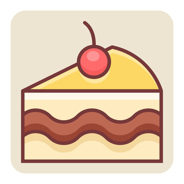 Filled color outline icon for pastry.