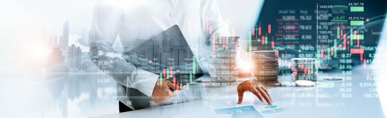 Fototapeta Double exposure, Graph growth of financial and economic, Business woman touching chart of business and financial stock market trading and stock exchange on global network. obraz
