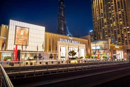 Dubai, United Arab Emirates - April 19, 2021: Dubai mall and Burj Khalifa modern architecture and urban downtown city area
