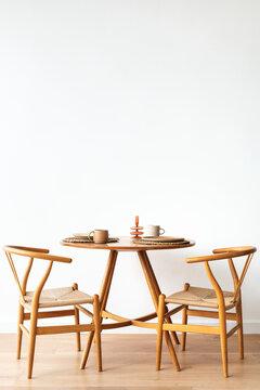 Scandinavian breakfast nook and dinner set