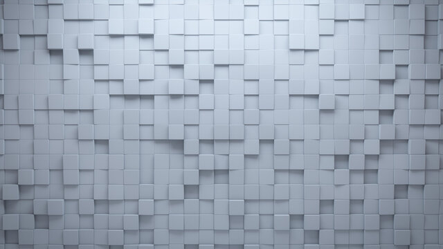 White, Semigloss Mosaic Tiles arranged in the shape of a wall. Square, Polished, Bricks stacked to create a 3D block background. 3D Render