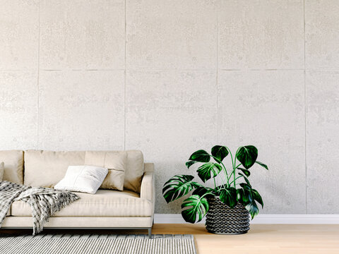 3d render of beautiful interior with sofa and floor plant