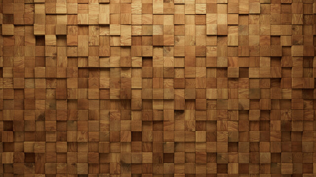 Timber, 3D Mosaic Tiles arranged in the shape of a wall. Wood, Soft sheen, Blocks stacked to create a Square block background. 3D Render