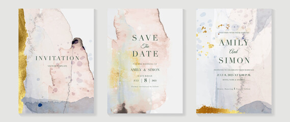 Fototapeta Elegant abstract watercolor wedding invitations vector set. Luxury gold and hand painted watercolor background decoration for save the date, greeting card, poster and cover design template. obraz
