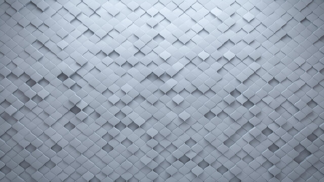 Polished, White Mosaic Tiles arranged in the shape of a wall. Semigloss, 3D, Bricks stacked to create a Arabesque block background. 3D Render