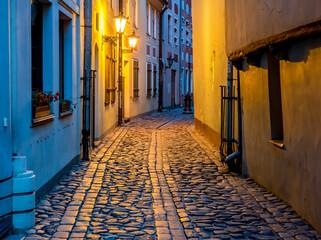 Night in narrow street in old town