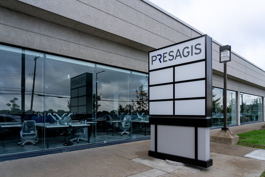Montreal, QC, Canada - September 6, 2021: Presagis office building  in Montreal, QC, Canada. Presagis Canada Inc is a Canadian software company.