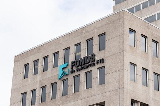 Montreal, Quebec, Canada - September 6, 2021: Close up of Fonds de solidarite FTQ sign at their headquarters in Montreal, Quebec, Canada. the Fonds de solidarite FTQ is a development capital fund.