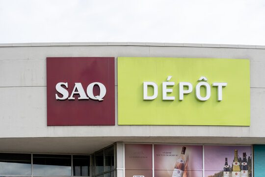 Montreal, QC,  Canada - September 6, 2021: SAQ Depot store sign in Montreal, QC,  Canada. SAQ is a provincial Crown corporation in Quebec responsible for the trade of alcoholic beverages within provin